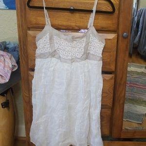Anthropologie left of center shimmery white dress